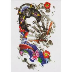 Tatuaż zmywalny duży - gejsza rysunek