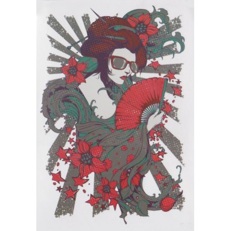 Tatuaż zmywalny duży - nowoczesna gejsza grafika