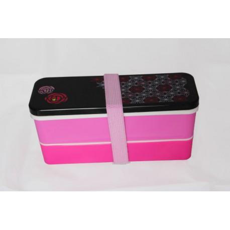 Pudełko bento małe 2-piętrowe różowo-czarne
