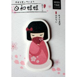 Karteczki samoprzylepne memo dziewczynka w kimonie