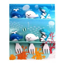 Akcesoria do bento - ozdobne widelczyki - morskie zwierzęta