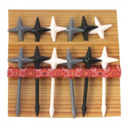 Akcesoria do bento - ozdobne wykałaczki - shurikeny ninja