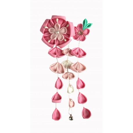 Spinka do włosów z kwiatami wisterii - różowa