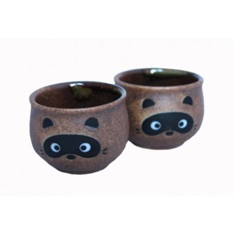 Czarki do sake shigaraki tanuki - komplet 2 sztuki