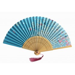 Wachlarz składany bambusowy kwitnąca wiśnia błękit