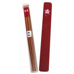 Pałeczki bambusowe z etui sakura czerwone