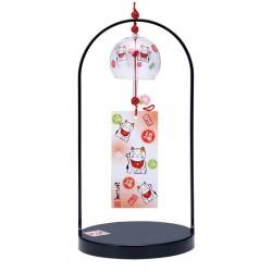 Furin - dzwonek wietrzny kotek maneki neko ze stojakiem