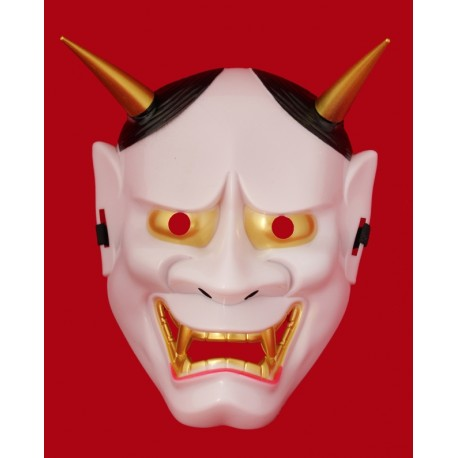 Maska plastikowa na cosplay - japoński demon biała