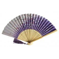 Wachlarz składany bambusowy kwitnąca wiśnia fiolet