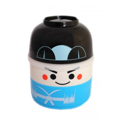 Pudełko bento 2-piętrowe niebieskie samuraj