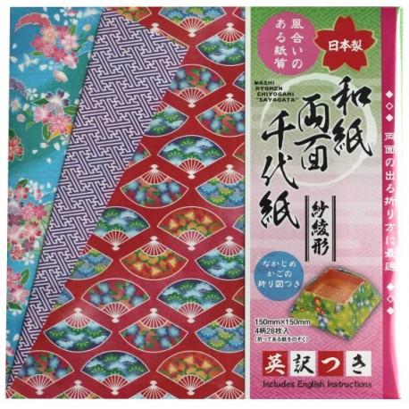 Papier do origami dwustronny wachlarze, kwiaty wiśni 28 szt.