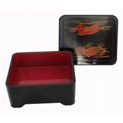 Pudełko bento średnie czarne wachlarze