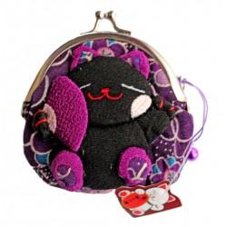 Portmonetka z kotkiem maneki neko - fioletowa