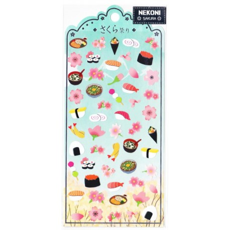 Naklejki z japońskim wzorem - sakura i sushi