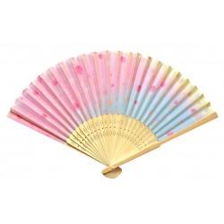 Wachlarz składany bambusowy kwitnąca wiśnia błękitno-różowy