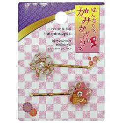Spinki wsuwki sakura 2 szt. - różowe